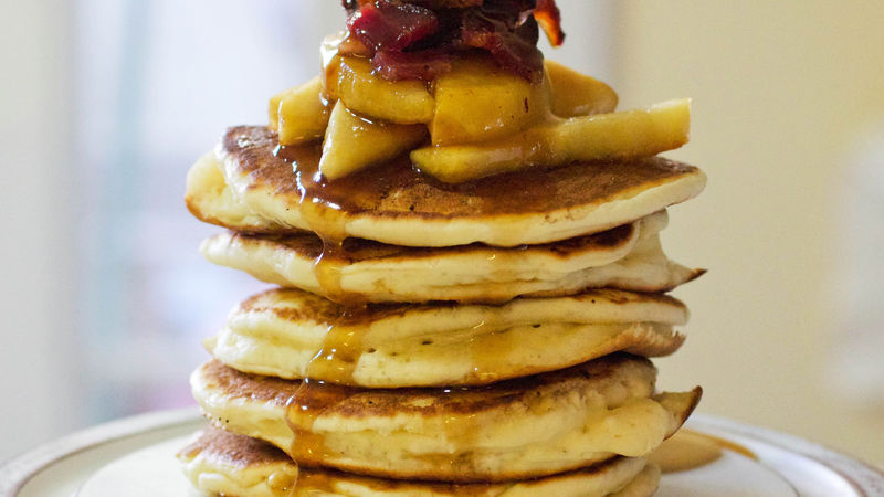 Bourbon, Apple and Bacon Pancakes