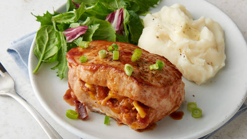 Baked main dish recipes bettycrocker bbq bacon cheddar stuffed pork chops forumfinder Image collections