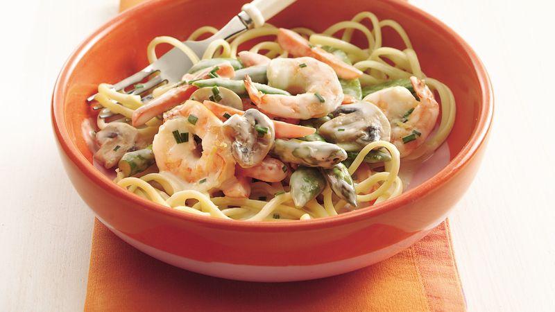 Shrimp Primavera Alfredo