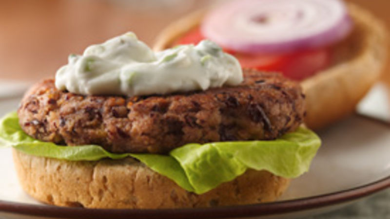 Bean Burgers with Oregano-Sour Cream Sauce