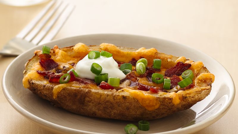 Cheesy Bacon Potato Skins Recipe - BettyCrocker.com