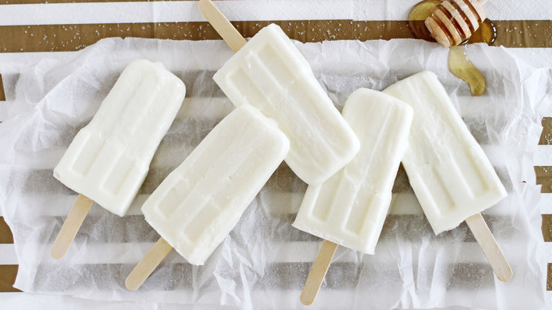 Salted Honey-Vanilla Frozen Yogurt Pops