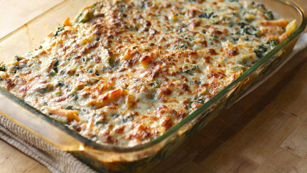 Cheesy Spinach Dip Pasta Bake