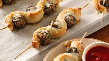 Meatball and Breadstick Sub Skewers
