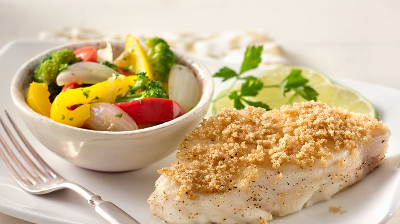 Amaranth Crusted Fish with Sautéed Vegetables