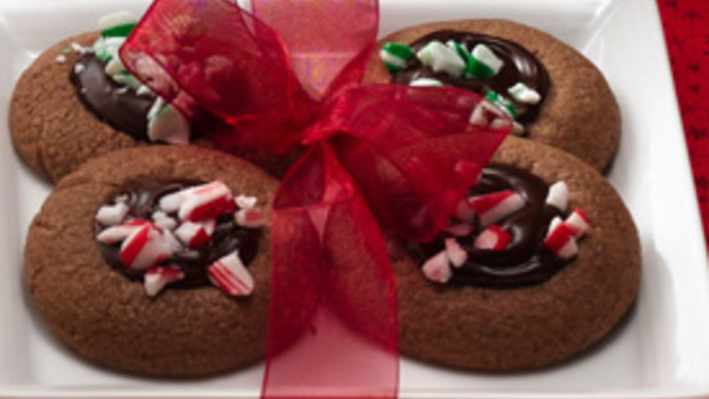 Peppermint Fudge Thumbprint Cookies Recipe Bettycrocker Com