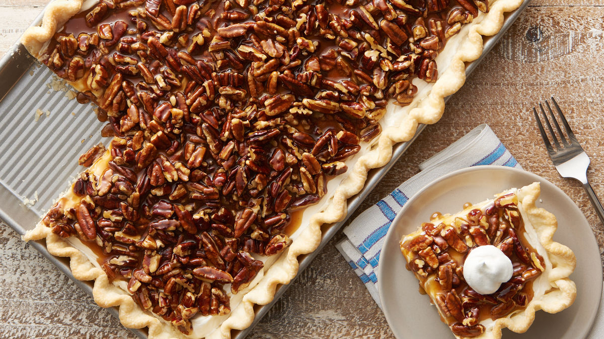 Caramel Pecan Cream Slab Pie