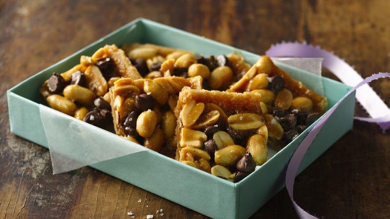 Barres de nougat aux arachides et caramel salé
