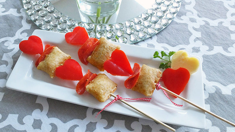 Cupid Pizza Roll Kabobs