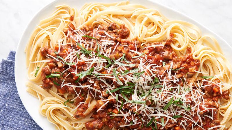 Mushroom Bolognese with Fettuccine