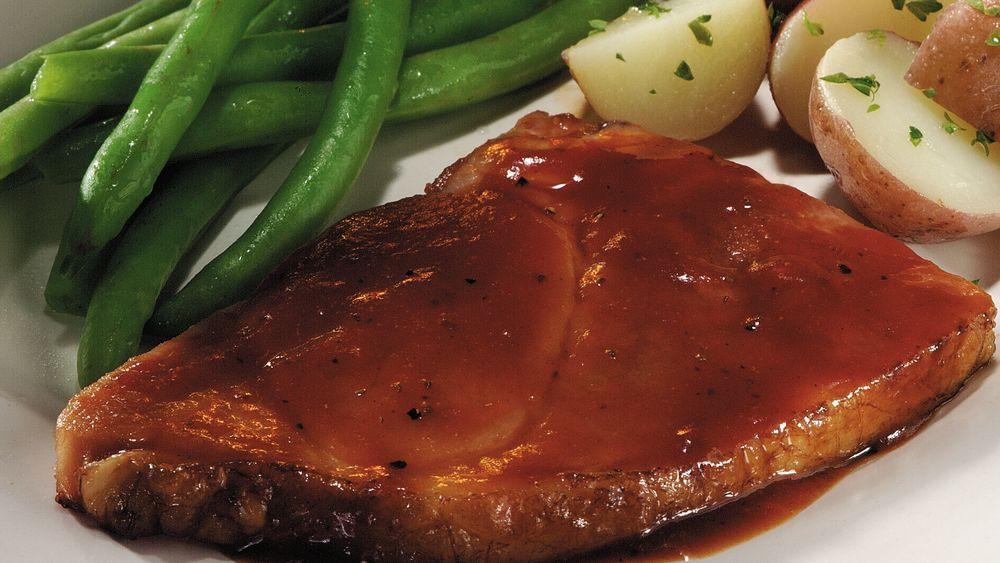 Ham Steak with Apple Barbecue Sauce