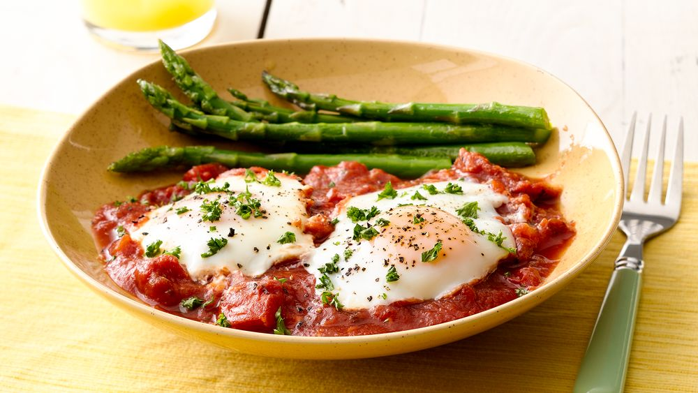 Poached Eggs with Tomato Sauce and Asparagus Recipe - Pillsbury.com