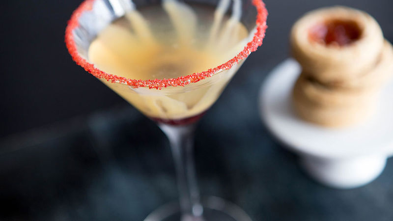 Raspberry-Almond Thumbprint Cookie Cocktail