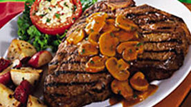 Grilled T-Bones with Mushroom Sauce