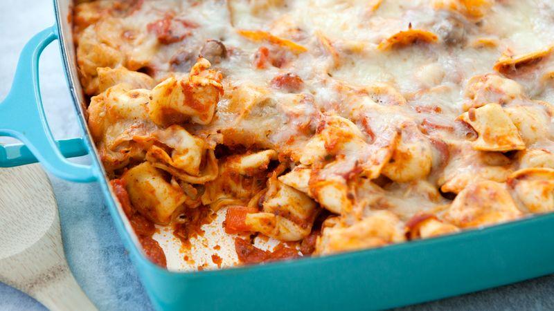 Cheesy Tortellini and Pepperoni Pizza Casserole