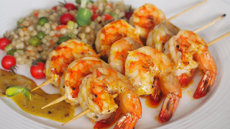 Israeli Couscous with Grilled Shrimp in Curry Sauce