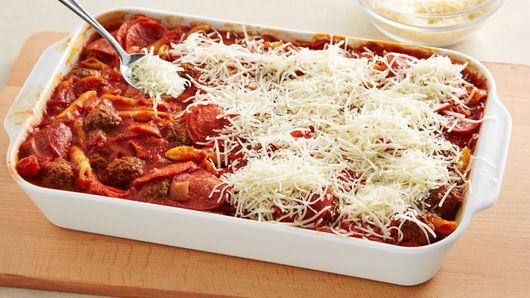 One Pan Meatball And Pepperoni Pasta Bake Recipe