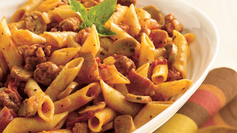 Meaty Mostaccioli Recipe Pillsbury Com