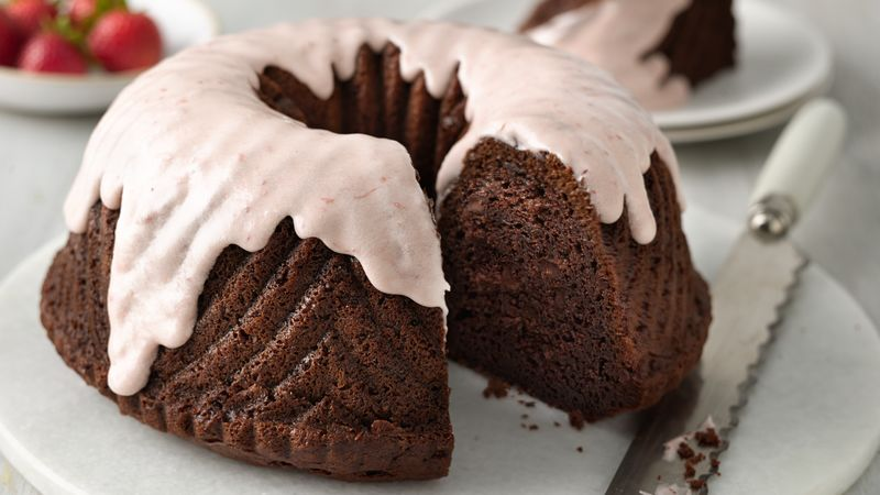 One Bowl Strawberry Covered Chocolate Bundt Cake
