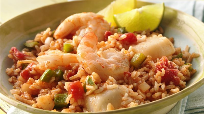 Grilled Seafood Jambalaya Foil Packs