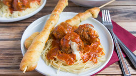 Cheesy Slow-Cooker Meatballs and Twisted Garlic Bread
