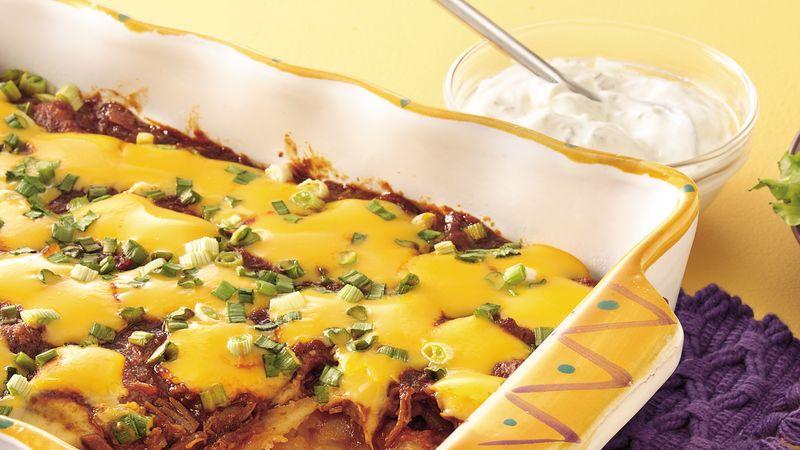 Barbecue Pork-Cheesy Potato Bake