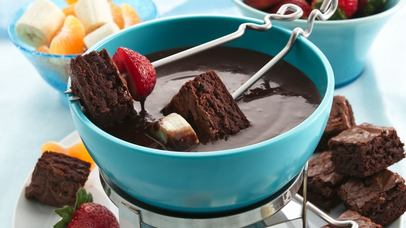 Fondue de Chocolate y Frambuesas con Brownies