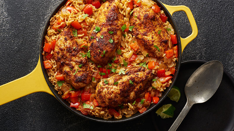 Mexican Chicken And Rice Skillet Recipe Tablespoon Com