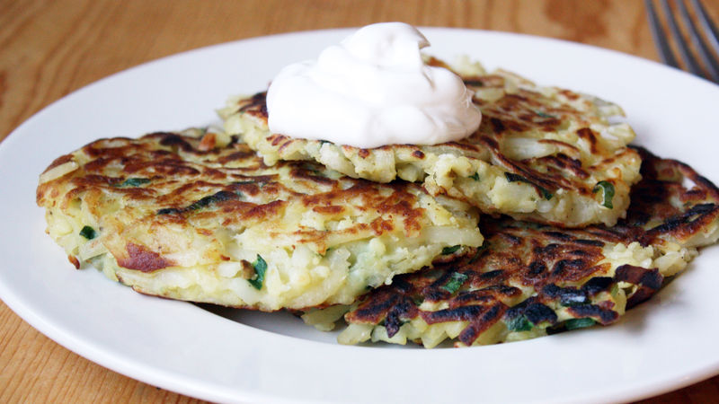 Potato pancakes recipe bettycrocker potato pancakes ccuart Image collections