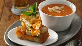 Creamy Tomato Soup with Grilled Cheddar-Basil Sandwiches