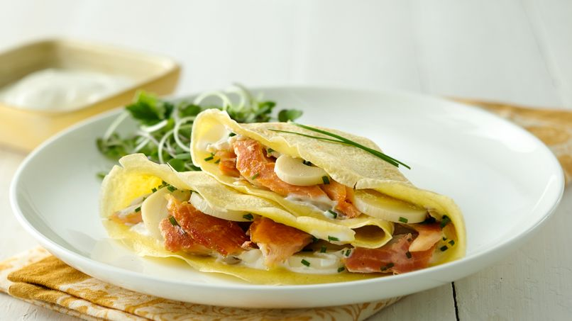 Rice Flour Crepes Stuffed with Smoked Trout and Hearts of Palm