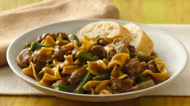Green bean and beef pasta supper recipe bettycrocker green bean and beef pasta supper forumfinder