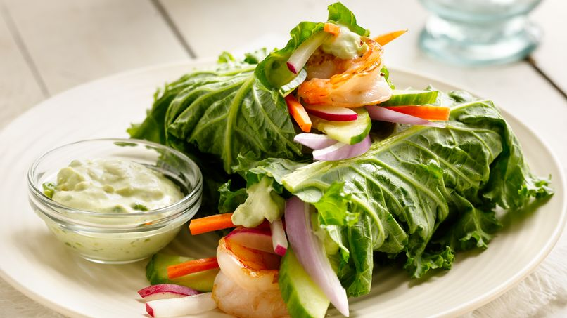 Grilled Shrimp and Kale Wraps