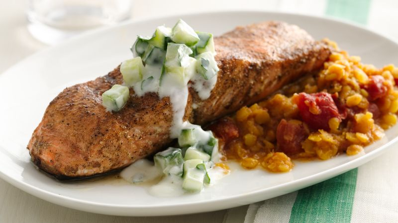Gluten-Free Indian Spiced Salmon with Dal and Raita