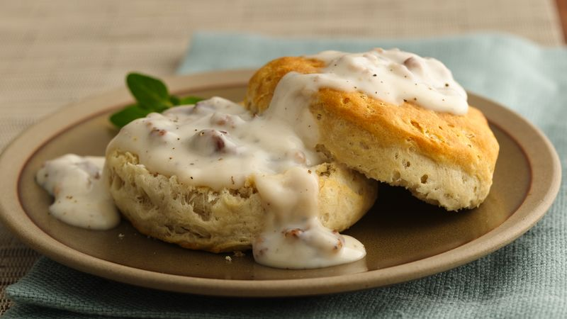 Unbeatable Sausage Gravy And Biscuits Recipe Pillsbury Com