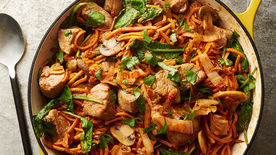 Korean Barbecue Pork Sweet Potato Noodles with Kimchi