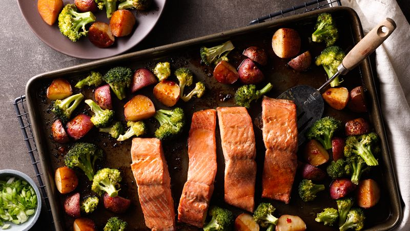 Asian Salmon with Potatoes and Broccoli Sheet Pan Dinner