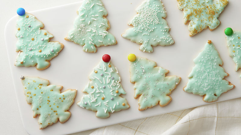 Retro Tinsel Christmas Tree Cookies