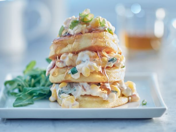 Johnny Cakes with Bacon, Corn and Maple Drizzle