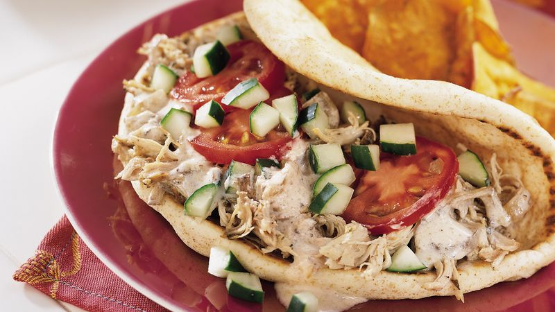 Slow Cooker Greek Chicken Pita Folds Recipe Bettycrocker Com