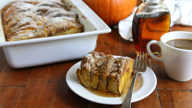 Make-Ahead Pumpkin-Cream Cheese Pancake Bake