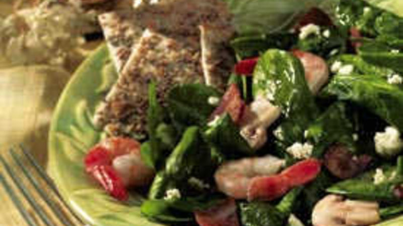 Spinach-Shrimp Salad with Hot Bacon Dressing