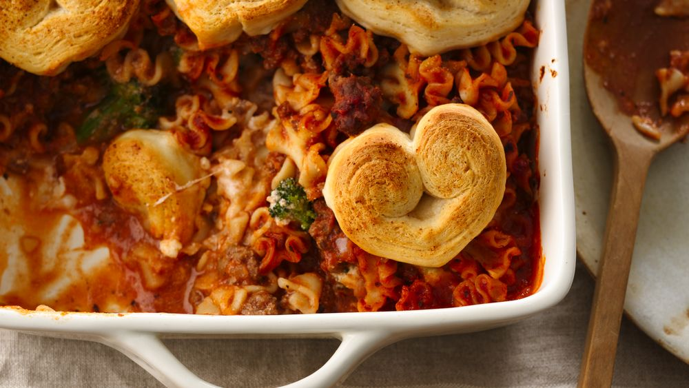 Crescent Heart-Topped Lasagna Casserole recipe from Pillsbury.com