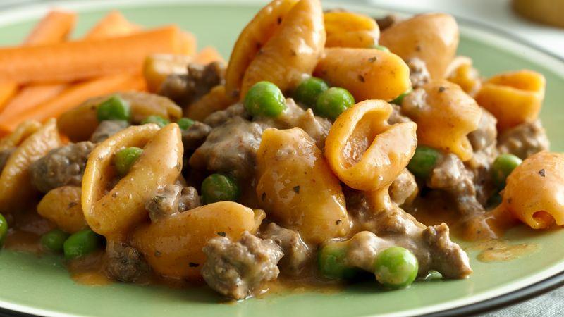 Cheesy Italian Shells and Peas