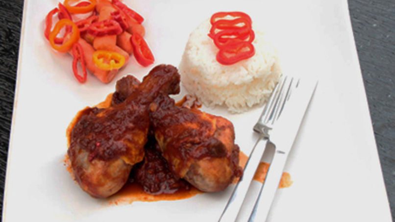 Chicken and Peppers in Red Wine Sauce