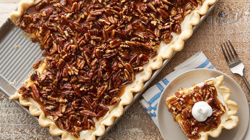 Caramel Pecan Cream Slab Pie