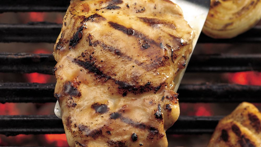 Apricot Glazed Grilled BBQ Chicken Thighs