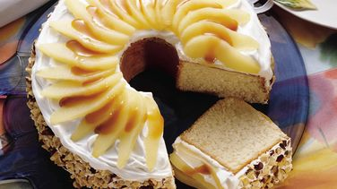 Delicate Pear Cake with Caramel Sauce