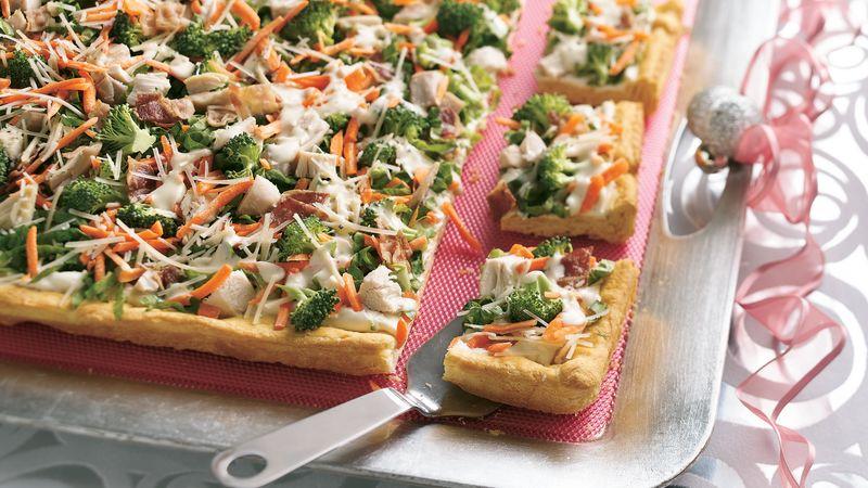 Caesar Chicken and Veggie Appetizer Pizza