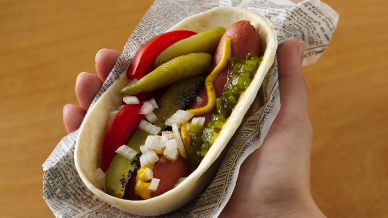 Chicago Style Hot Dog Tacos